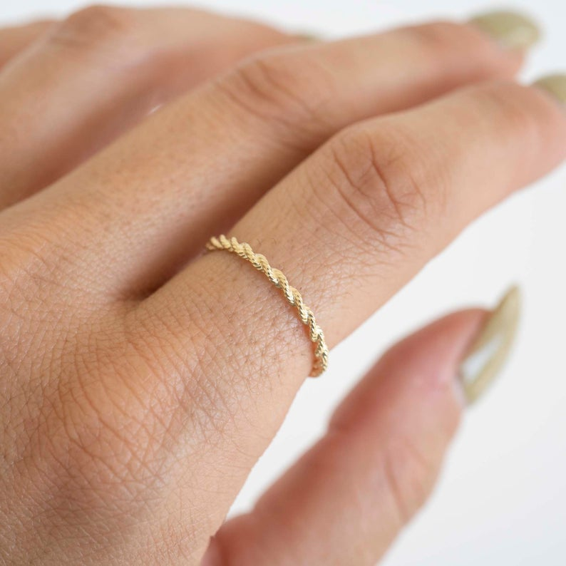 14k Solid Gold Rope Ring