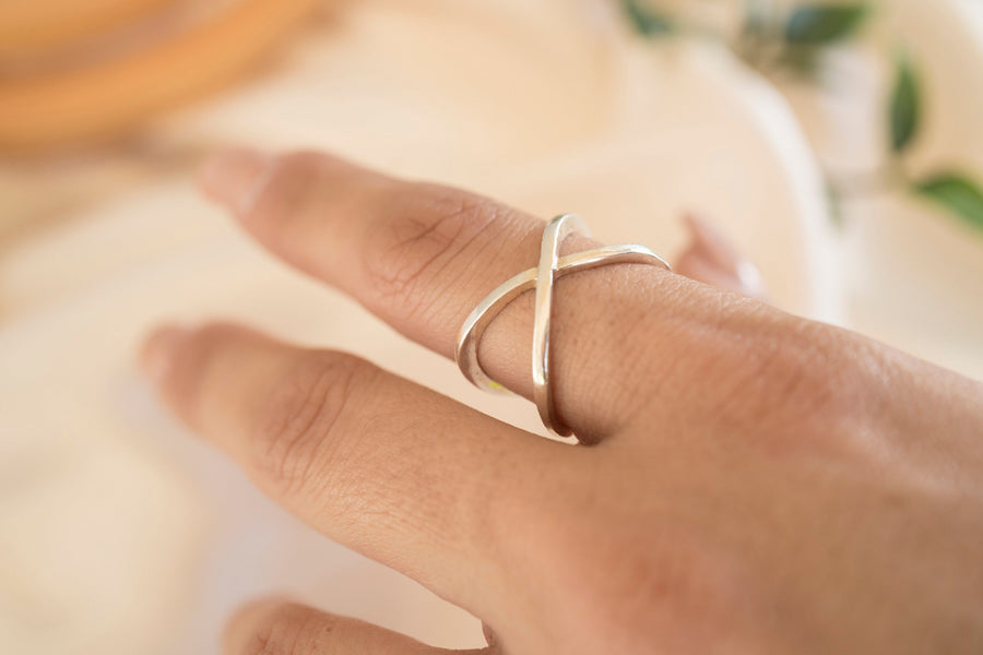 Sterling Silver X Ring, Silver Cross Ring, Silver Saturn Ring, Gold Criss Cross Ring, Silver X Ring, Gold X Ring, Gold Criss Cross Ring,