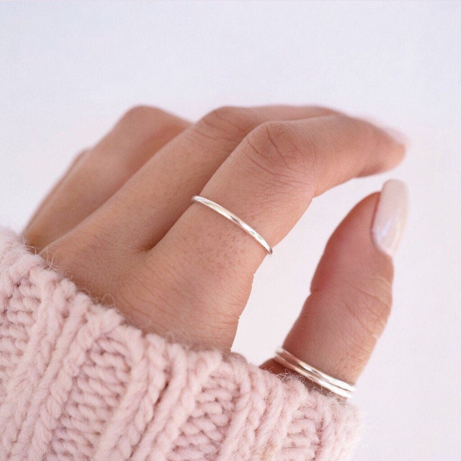 Silver Stackable Ring Set of 3, Thin Band Ring, Silver Band Ring, Minimalist Silver Ring, Stackable Rings,  Holiday Gift, Gift for Her,