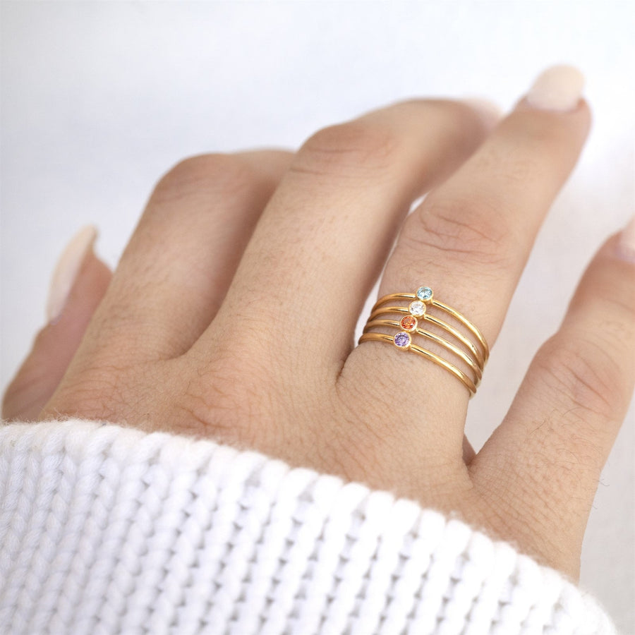 Gold Filled Crystal Stacker, Gold Filled Rings | Gold Filled Stackable Ring, Gold Gemstone Ring, Gemstone Ring, Birthstone Ring, Cute Ring