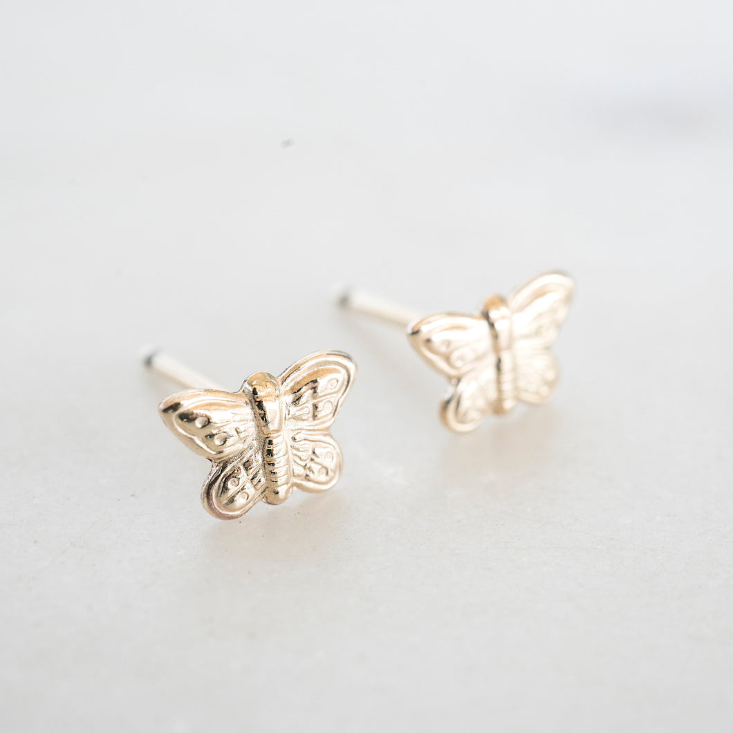 Gold Butterfly Studs, Gold Studs. Cute Gold Studs, Gold Filled Studs, Earrings, Gold Filled Earrings, 14k Gold Studs