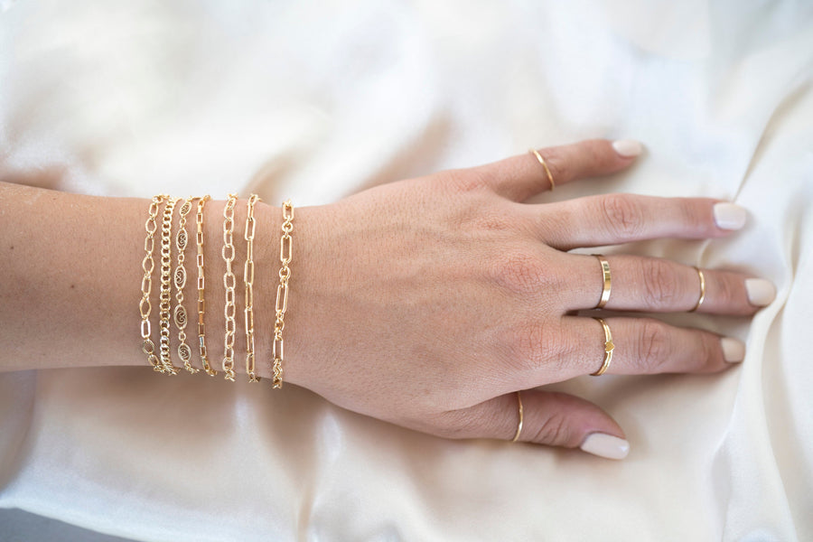 Gold Rectangle Bracelet, 14k Gold Bracelet, Simple Gold Bracelet, Chain and Link Bracelet, Bracelet, Chain Bracelet, Dainty Bracelet