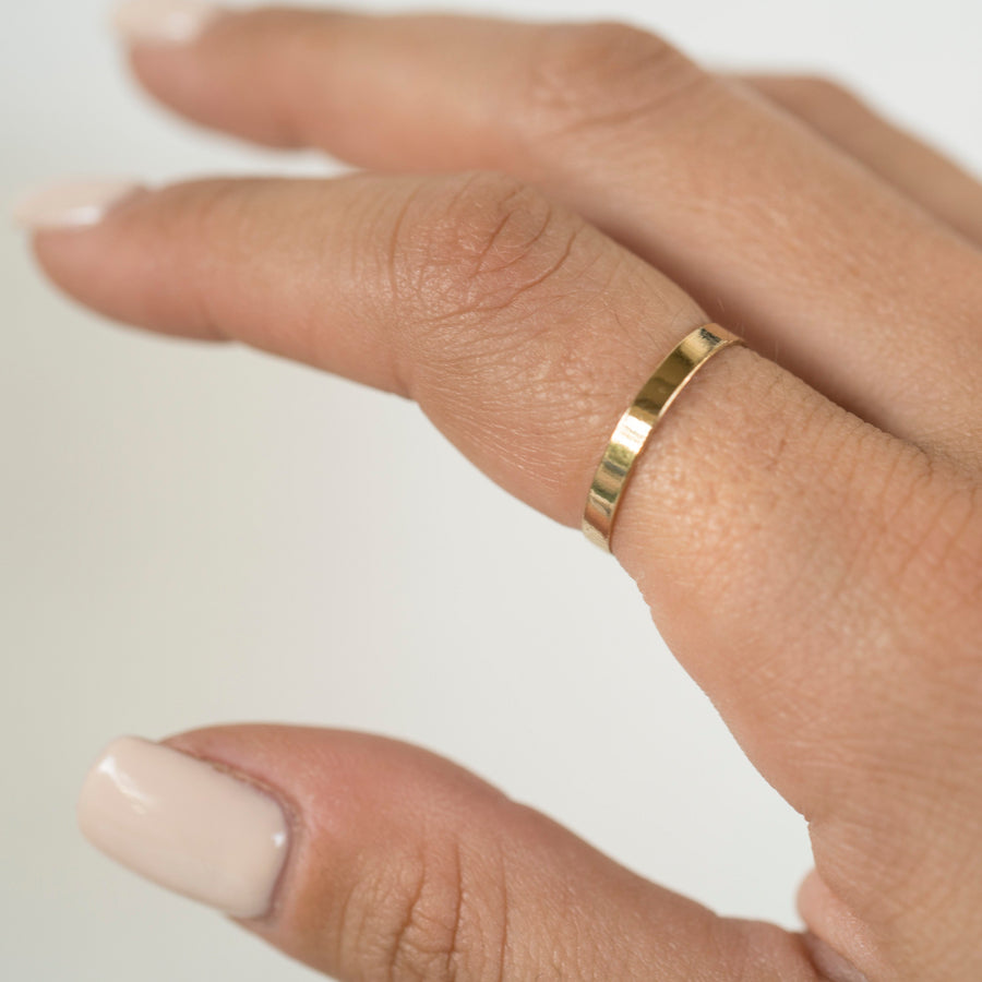3mm Gold Flat Ring, 14k Gold Filled Ring, Gold Stacker, Gold Band Ring, Delicate Ring, Simple Gold Ring, Womens Gold Ring, Dainty Gold Ring