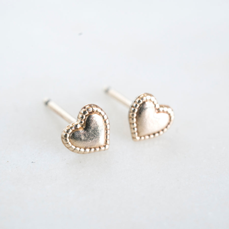Gold Heart Studs, Gold Filled Heart Studs, Cute Gold Studs, Gold Filled Studs, Earrings, Gold Filled Earrings, 14k Gold Studs