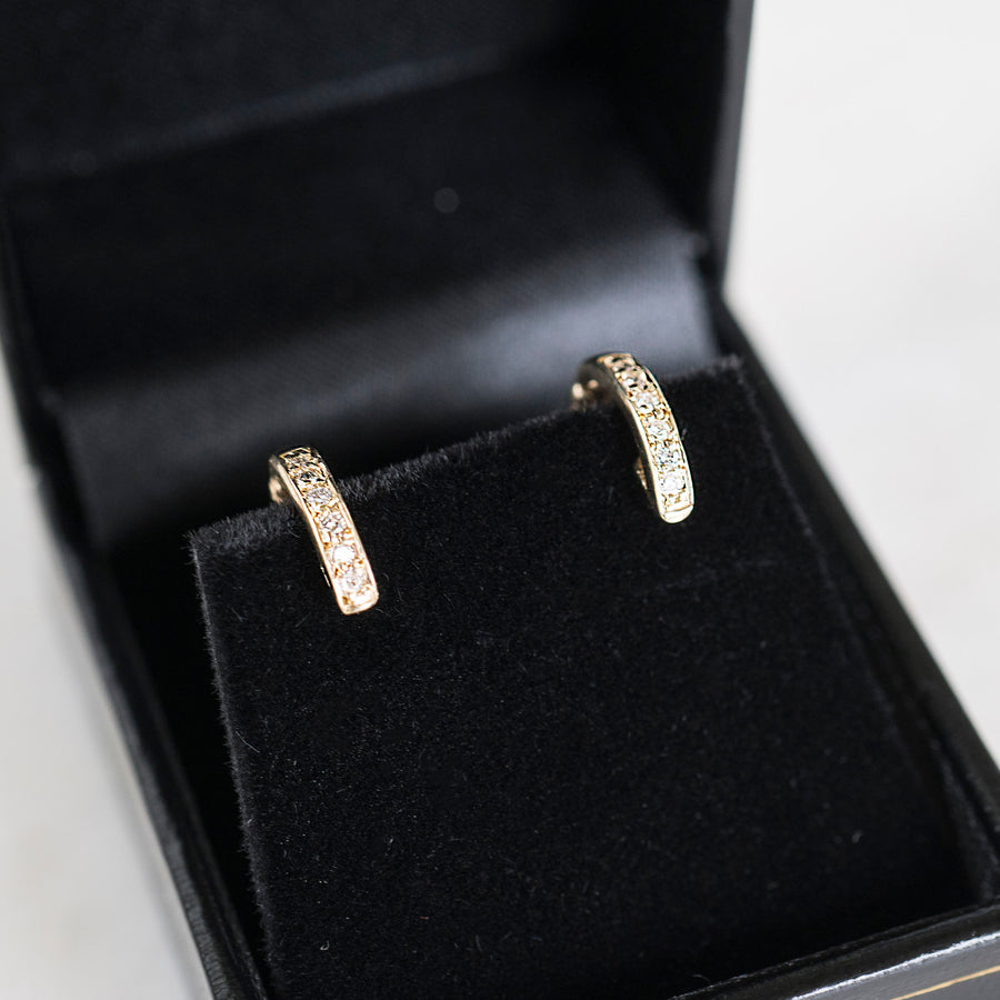 14k Diamond Hoops, Gold Diamond Hoops, Gold Hoop Earrings, Gold Hoops, Dainty Hoops, Earring Hoops, 14k Gold Hoops, Simple Hoops