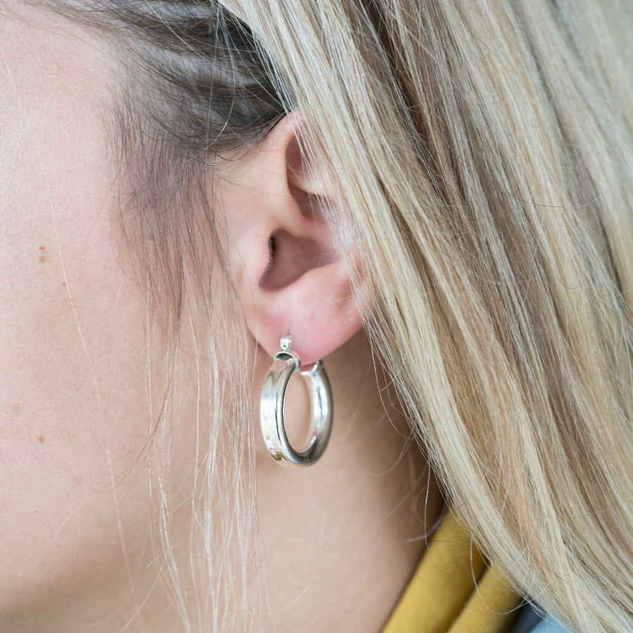 Silver Chubby Hoops, Silver Hoops, Clasp Hoops, Everyday Hoops, Gold Filled Hoops, Sterling Hoops, Thick Hoops, Classic Hoops, Cute hoops