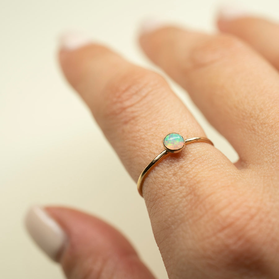 Tiny Gold Opal Ring, Gold Opal Ring, Natural Opal Ring, 3mm Opal Ring, Handmade Opal Ring, Dainty Opal Ring, Gemstone Ring, Simple Opal Ring