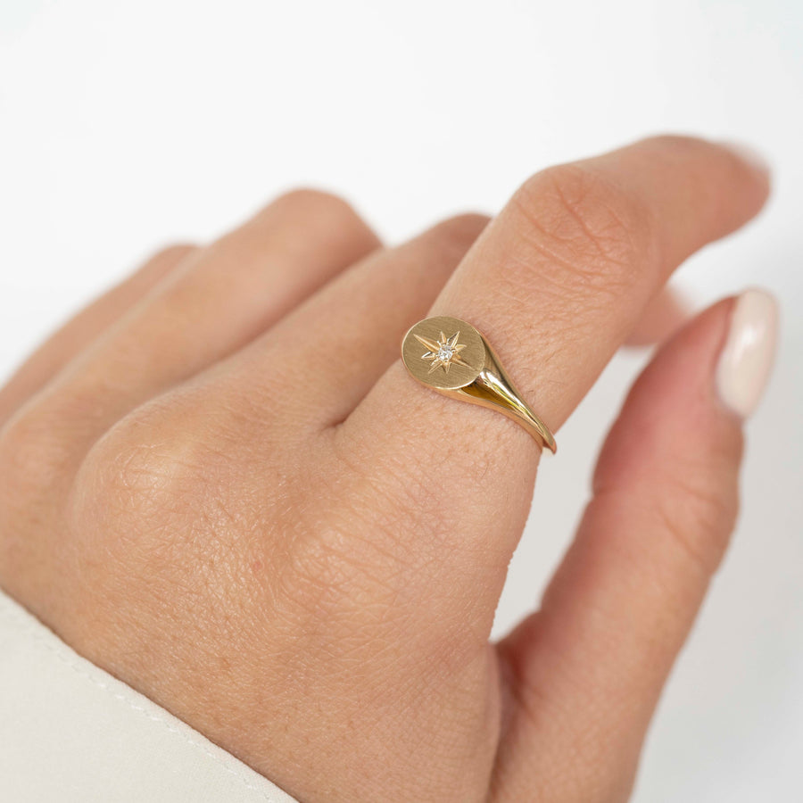14k Solid Gold Signet Ring, Starburst Signet Ring, Diamond Signet Ring, Ladies Signet Ring, Solid Gold Signet Ring, Starburst Diamond