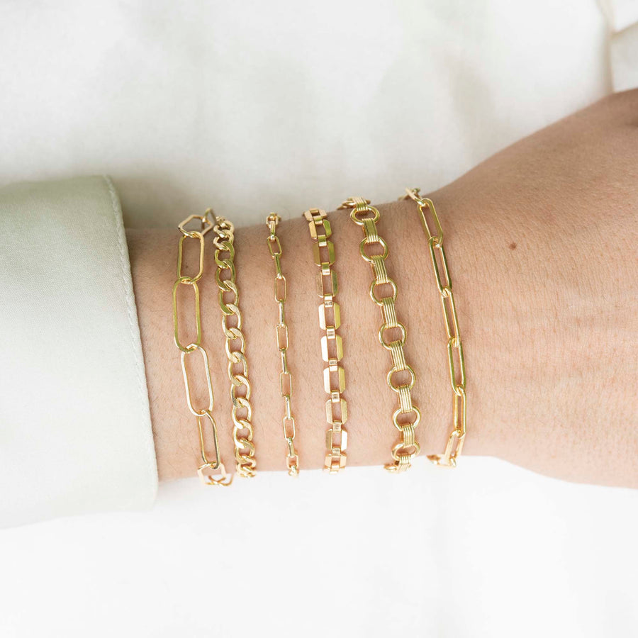 Gold Rectangle Bracelet XL, 14k Gold Bracelet, Simple Gold Bracelet, Chain and Link Bracelet, Bracelet, Chain Bracelet, Bold Bracelet