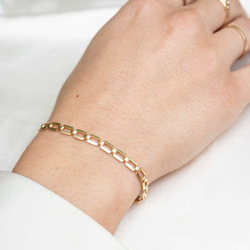 Gold Retro Bracelet, 14k Gold Bracelet, Simple Gold Bracelet, Chain and Link Bracelet, Bracelet, Chain Bracelet, Bold Bracelet, Gold Filled