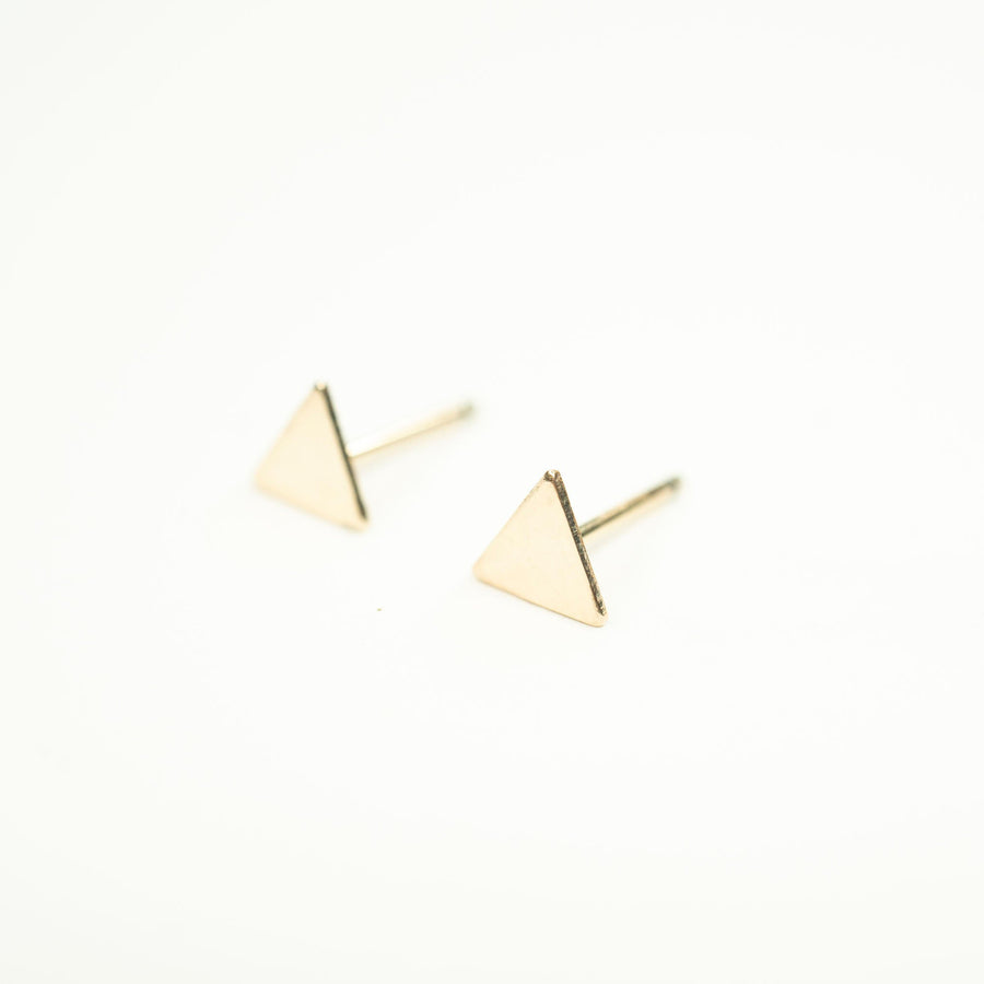 Gold Triangle Studs, Gold Studs. Cute Gold Studs, Gold Filled Studs, Earrings, Gold Filled Earrings, 14k Gold Studs