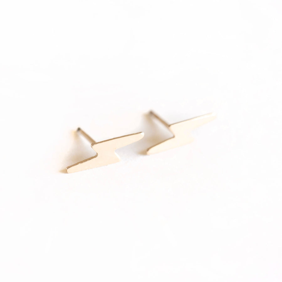 Solid 14k Gold Lightning Bolt Studs, Gold Studs. Cute Gold Studs, Gold Studs, Earrings, 14k Gold Earrings, 14k Gold Studs, 14k Gold Studs