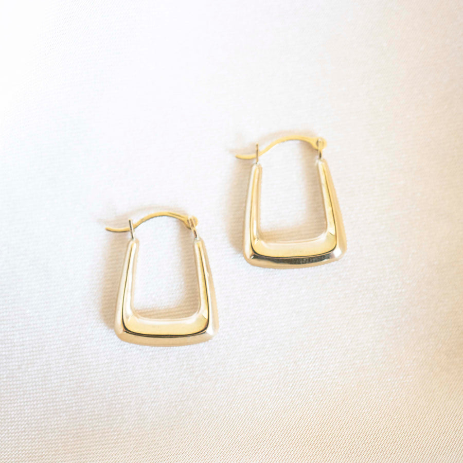 14k Gold Square Hoops | Lightweight Hoops, Clasp Hoops, Everyday Earrings, 14k Gold Hoops, 14k Gold Hoops, Simple earrings, Gold Hoops