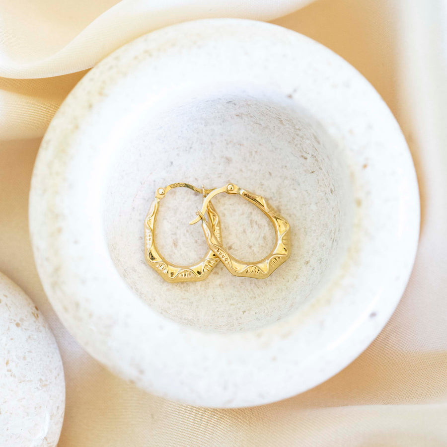 14k Gold Pattern Hoops | Lightweight Hoops, Clasp Hoops, Everyday Earrings, 14k Gold Hoops, 14k Gold Hoops, Simple earrings, Gold Hoops