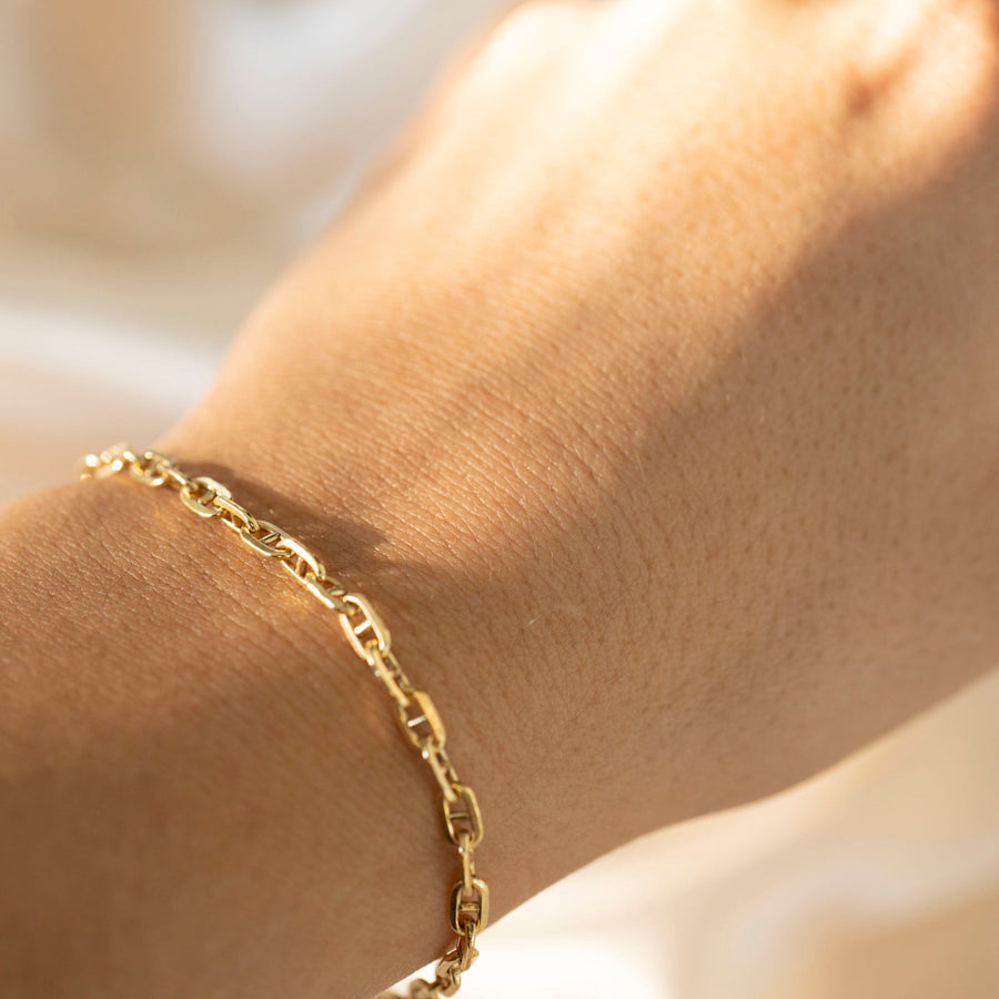 Gold Goddess Bracelet, 14k Gold Bracelet, Simple Gold Bracelet, Chain and Link Bracelet, Chain Bracelet, Gift for Her, Rectangle Bracelet