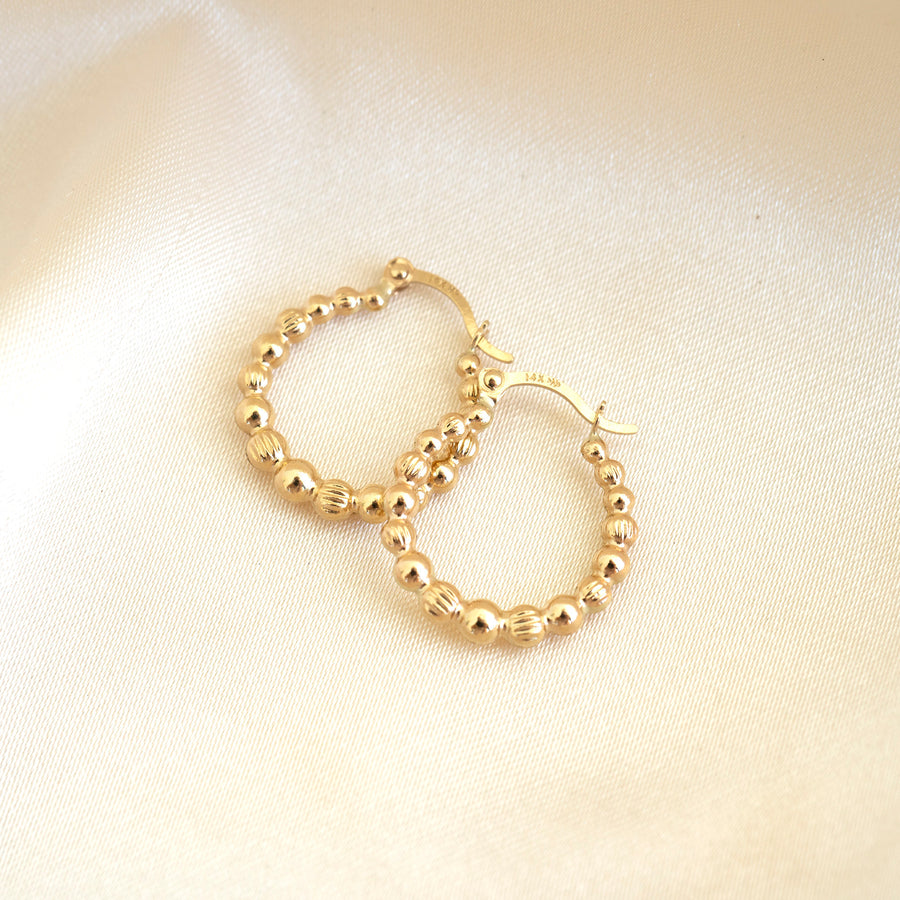 14k Gold Dotted Hoops | Lightweight Hoops, Clasp Hoops, Everyday Earrings, 14k Gold Hoops, 14k Gold Hoops, Simple earrings, Gold Hoops, Gift