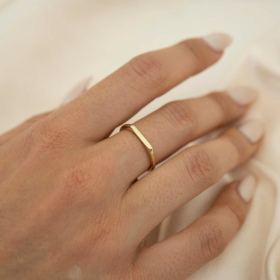 14k Thin Signet Ring | 14k Solid Gold Signet, Simple Signet Ring, Unique Signet Ring, Holiday Gift, Gold Signet Ring, Dainty Signet Ring