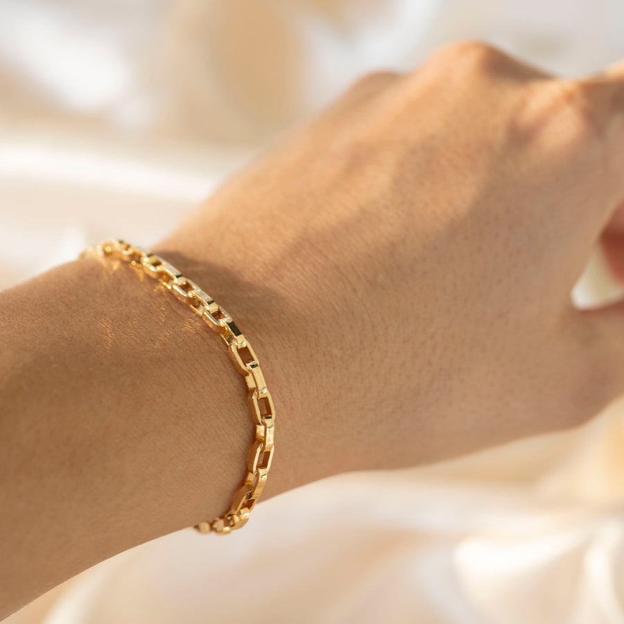Gold Athena Bracelet, 14k Gold Bracelet, Simple Gold Bracelet, Chain and Link Bracelet, Chain Bracelet, Gift for Her, Rectangle Bracelet