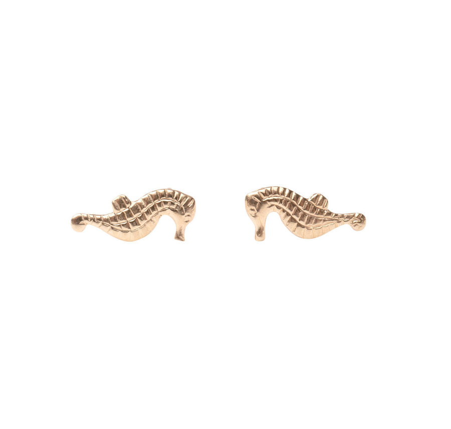 Gold Sea Horse Stud Earrings, Gold Studs,  Studs, Gold Studs, Earrings, Gold Filled Earrings, 14k Gold Studs