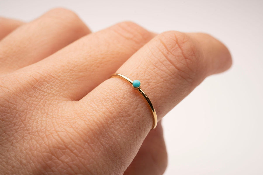 Gold Filled Turquoise Stacker, Gold Filled Rings | Gold Filled Stackable Ring, Gold Gemstone Ring, Holiday Gift, Gift for Her, Holiday, Gift