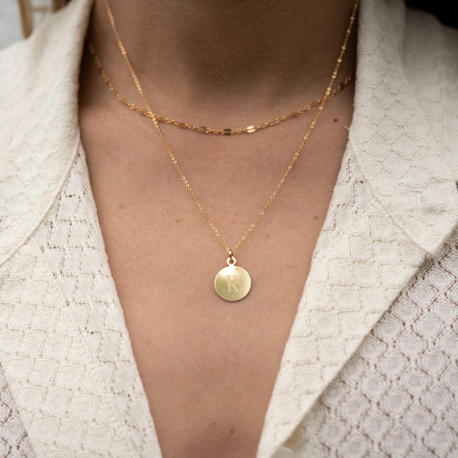 Gold Circle Disk Necklace, 14k Gold Necklace, Simple Gold Necklace, Charm Necklace, Mothers Day Necklace, Mom Necklace, Mothers Day Gift