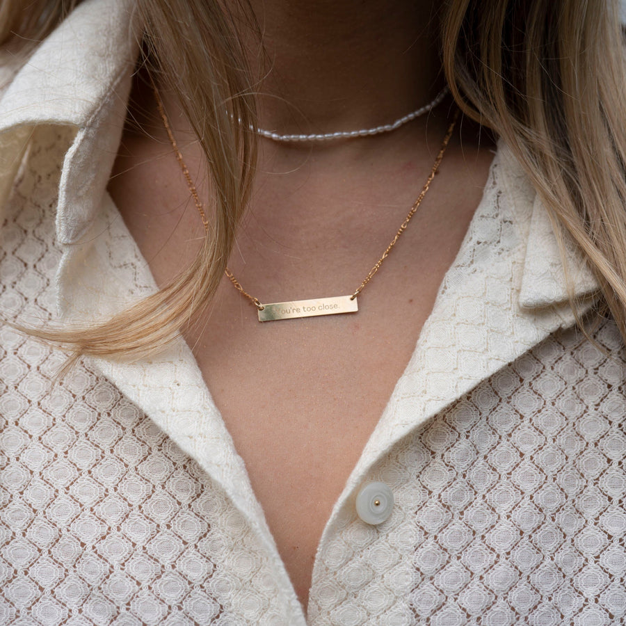 Too Close Necklace, 14k Gold Necklace, Simple Gold Necklace, Charm Necklace, Mothers Day Necklace, Mom Necklace, Mothers Day Gift
