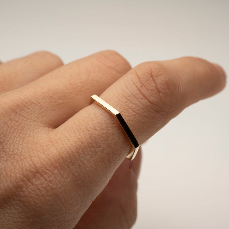 14k Hexagon Ring | Gold Hexagon Ring, 14k Solid Gold Ring, Solid Gold Hexagon ring, Geometric Shaped Ring, Gift, Gift for Her or Him, Simple