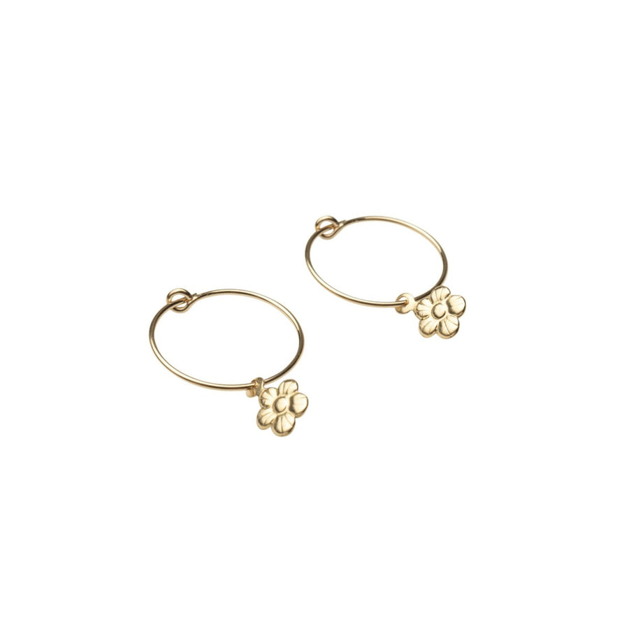 Gold Dainty Flower Hoops