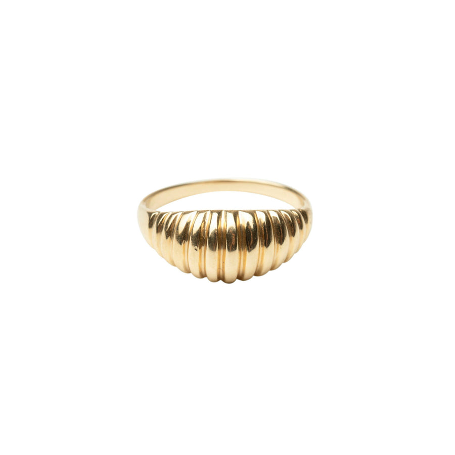 14k Ribbed Dome Ring | Gold Dome ring | 14k Solid Gold Ring | Wedding Ring, Holiday Gift, Gift for Her, Holiday, Gift