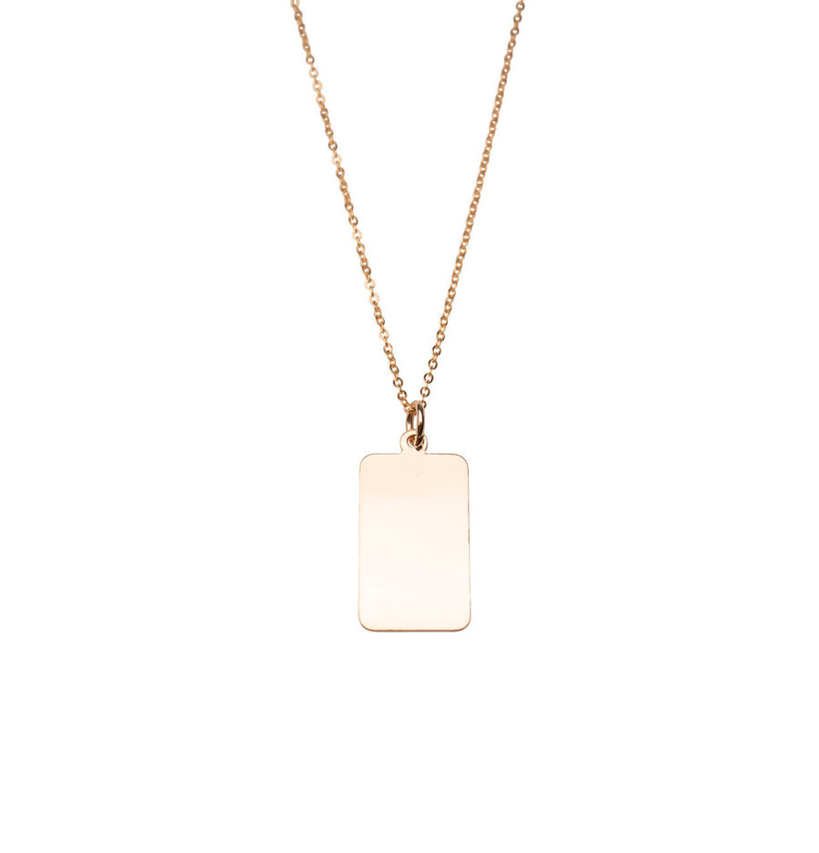Flat Rectangle Charm Necklace | 14k Gold Filled, Circle Charm, Dainty, Mothers Day, Holiday Gift, Gift for Her, Holiday, Gift, Engrave