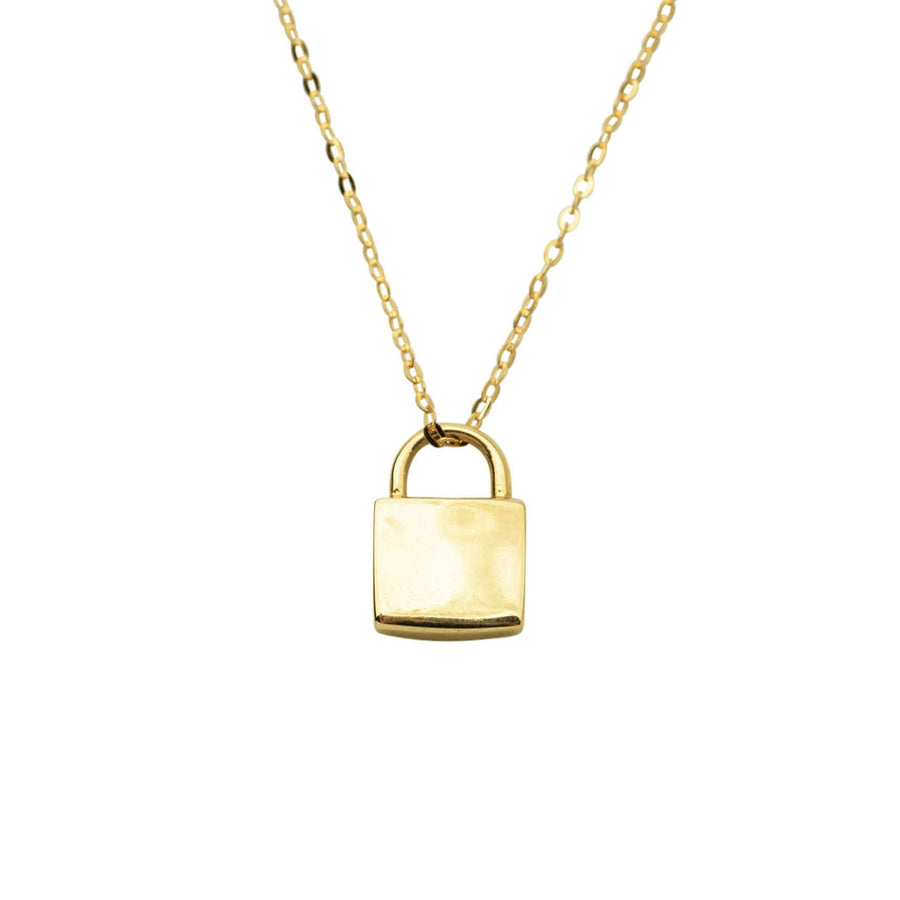 14k Little Lock Necklace, Gold Lock Charm Necklace, 14k Gold Lock, Gold Engraveable Charm, Holiday Gift, Gift for Her, Cute Necklace