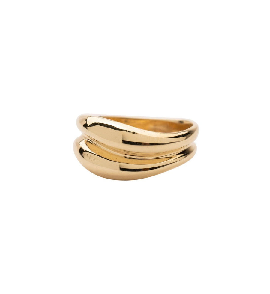 14k Gold Double Wave Ring, Gold Signet Ring, 14k Solid Gold Ring, Wedding Ring, Gold Signet, Holiday Gift, Gift for Her, Holiday, Gift,
