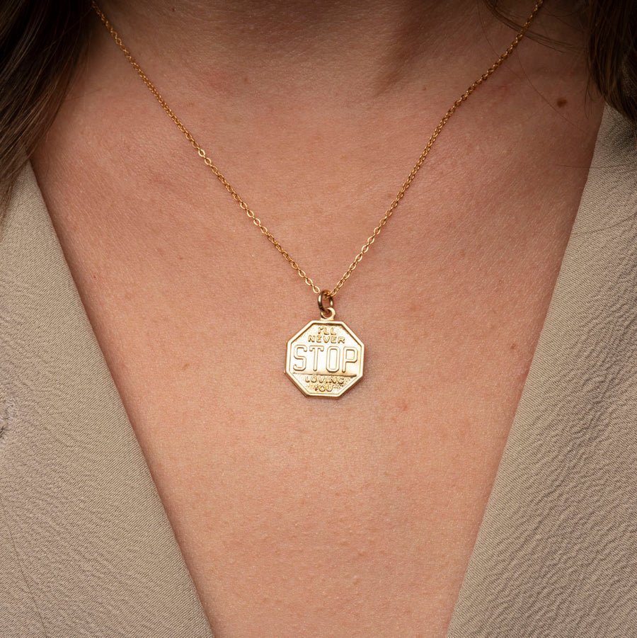 Gold Stop Sign Necklace, 14k Gold Filled Necklace, Simple Gold Necklace, Cute Necklace, Charm Necklace, Necklace Gift for Her, Engraving