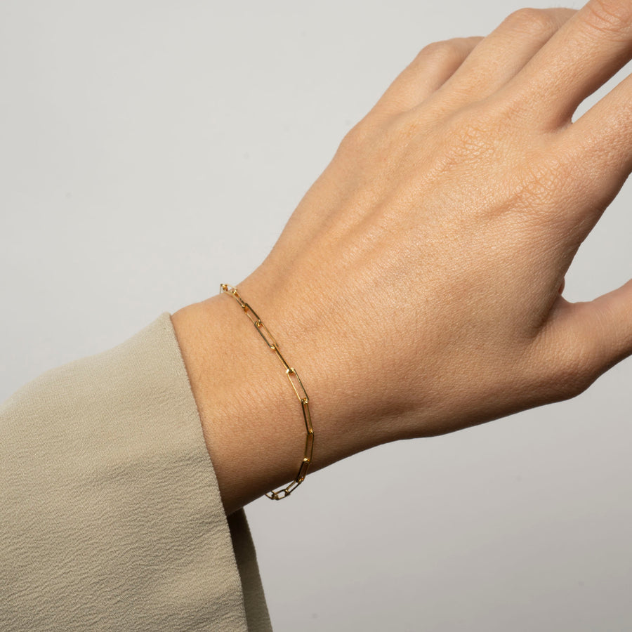 14k Solid Gold Medium Rectangle Bracelet | 14k Gold Paperclip Bracelet, Simple 14k Bracelet, Minimal Bracelet, 14k Gold Bracelet