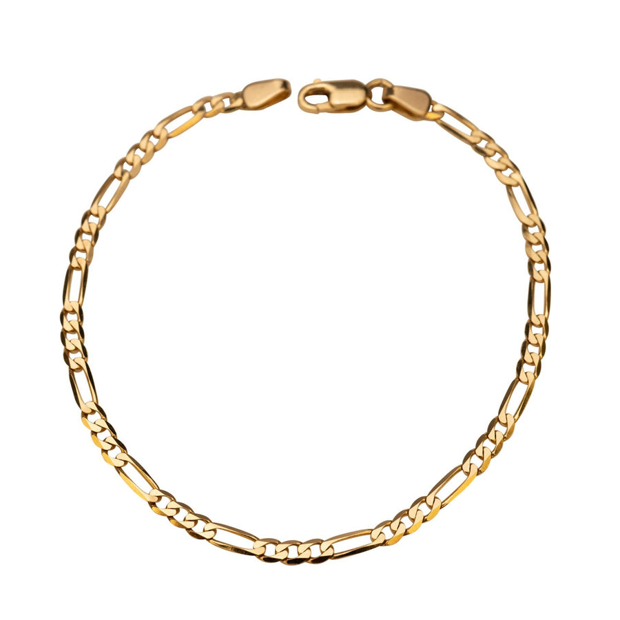 14k Solid Gold Figaro Bracelet, 14k Gold Bracelet, Simple Gold Bracelet, Chain and Link Bracelet, Chain Bracelet, Gift for Her, Rectangle