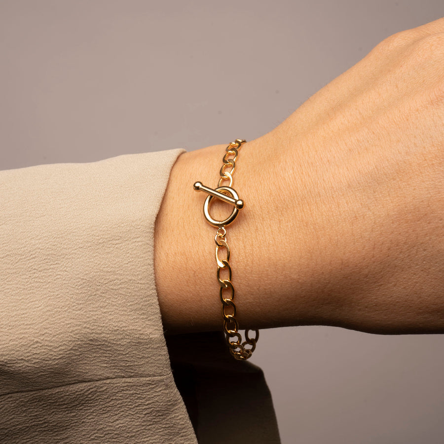 Gold Neptune Toggle Bar Bracelet
