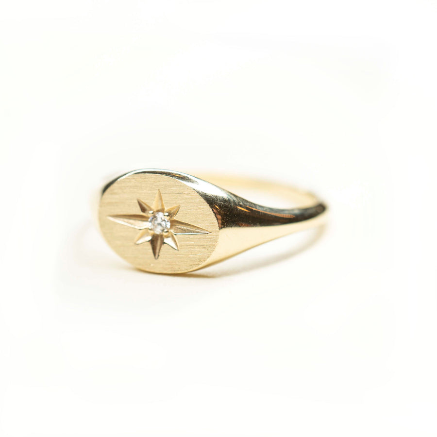 14k Gold Starburst Signet Ring