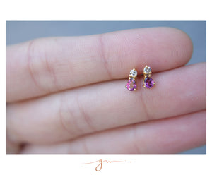 Aretes Luxe Granate y Diamantes