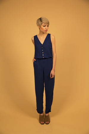 TAILORED JUMPSUIT - INDIGO