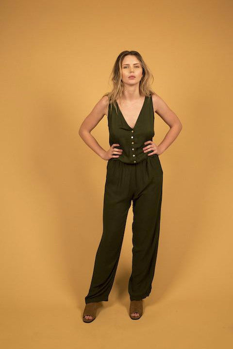 TAILORED JUMPSUIT - MILITARY GREEN