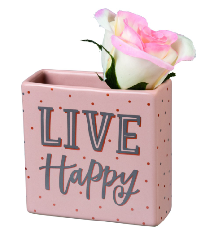 Live Happy Bud Vase