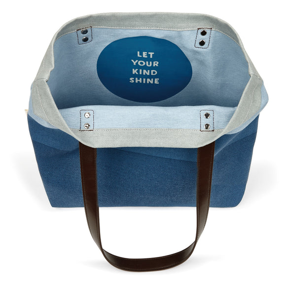 Let Your Kind Shine Blue Tote Bag