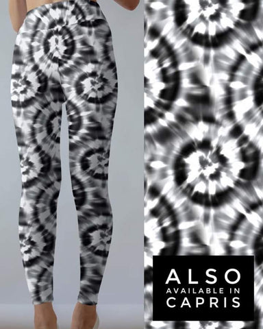 Tie Dye 7 Black w/White Leggings