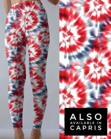 Tie Dye 2 Red w/Blue Leggings
