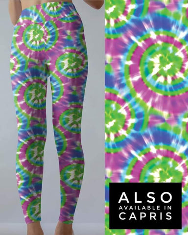 Tie Dye 12  Green w/Purple Capri POCKETS