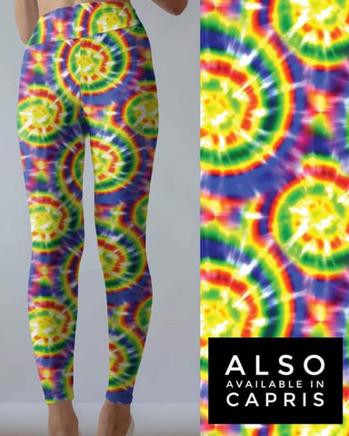 Tie Dye 5 Yellow w/Purple  Leggings POCKET