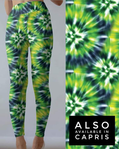 Tie Dye 8 Lime Green  Leggings