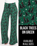 Black Trees on Green  Lounge Pants