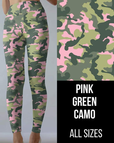 Pink Green Camo Leggings