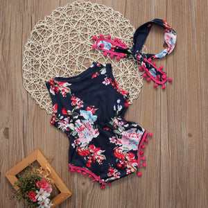 Floral Pom Pom Romper with Headband